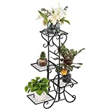 VINGLI Metal Plant Stand Flower Holder Racks 4 Tier Shelves Patio Stand Holder Outdoor Displaying Plants Flowers (Black- Square)