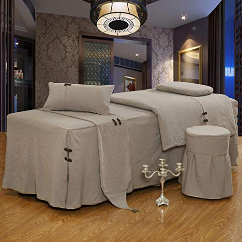 ynh Breathable Massage Table Sheet 4-Pieces,Soft Linen Solid Color Beauty Bed Cover Simple Salon Massage Bed Skirt Bedspread -e 80x190cm(31x75inch)