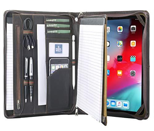Professional Padfolio Organizer Vintage Genuine Leather Portfolio Case with Notepad Holder for 12.9 iPad Pro 2018/2020