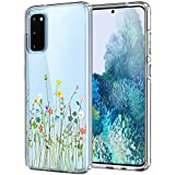 Unov Galaxy S20 Case Clear with Design Soft TPU Shock Absorption Slim Embossed Floral Pattern Protective Back Cover for Samsung Galaxy S20 5G 6.2in (Flower Bouquet)