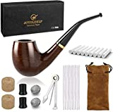 Joyoldelf Wooden Tobacco Smoking Pipe, Pear Wood Pipe with Pipe Cleaners, 9 mm
