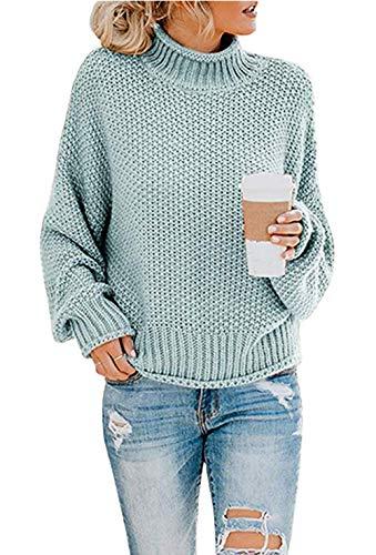ZIYYOOHY Damen Elegant Rollkragenpullover Langarm Beiläufige Grobstrickpullover Strickpullover Sweatshirts (M, Blau)