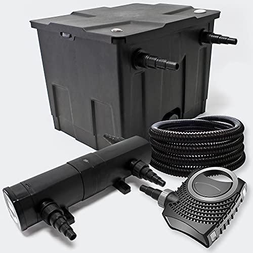 Filter Set aus Bio Teichfilter 12000l, UVC Teichklärer mit 36W, 80W Pumpe und 25m Schlauch
