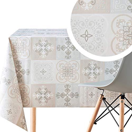 Wachstuch Lissabon Keramikfliesen-Druck Azulejo Muster Grau Beigefarbenem, Rechteckige 200 x 140 cm Abwischbare PVC Wachstuchtischdecke Wasserabweisend Tischdecke, Marokkanische Fliesen Pflegeleicht
