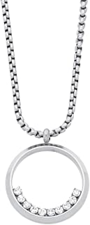 Bevilles Stainless Steel Open Circle Half Crystal Necklace Pendant