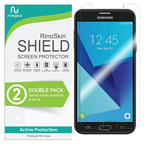 (2-Pack) RinoGear Screen Protector for Samsung Galaxy J7 SkyPro Case Friendly Samsung Galaxy J7 Sky Pro Screen Protector Accessory Full Coverage Clear Film