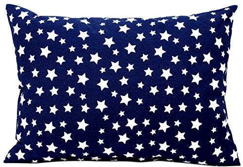 Kids Toddler Pillowcase 13x18 by Comfy Turtles, 100 Natural Cotton, Soft Pillow Cover for Wonderful Sleep and Dreams, Design for Boys and Girls (Navy Blue Stars)