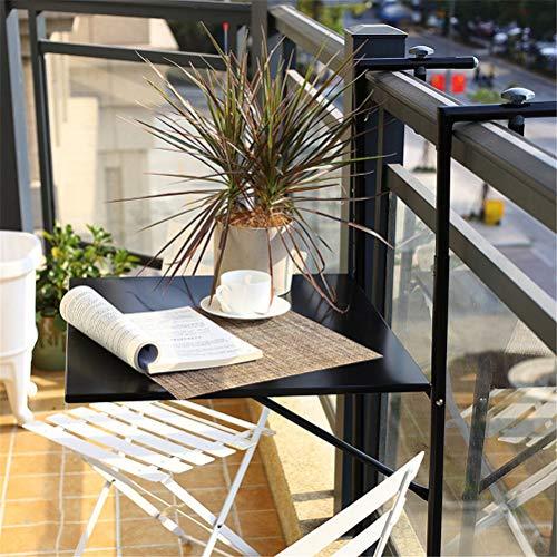 Mesa Plegable ColganteTerraza Ajustable Parapeto Balcón Mesa De Café Mesa Balcón Barra Plegable Mesa Lateral Colgante Para Balcones Patio Barandilla Comedor Mesa Jardín Patio Muebles,Negro