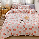 LAYENJOY Peach Duvet Cover Set Queen 100% Cotton Cartoon Tropical Fruit Print on White Bedding 1 Cute Comforter Cover Full with Zipper Ties 2 Pillowcases Luxury Quality Soft Lightweight Durable