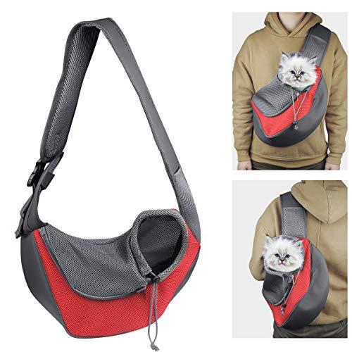 YouJia Pet Dog Sling Carrier, Breathable Mesh Travelling Pet Hands-Free Sling Bag Adjustable Padded Strap Front Pouch Single Shoulder Bag for Dogs Cats Below 6 LB