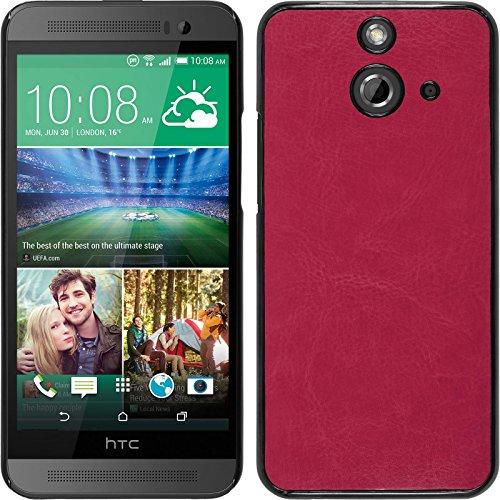 PhoneNatic Case kompatibel mit HTC One E8 - Hülle pink Lederoptik Hard-case + 2 Schutzfolien