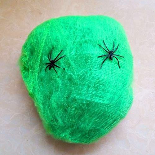 CGDX Tela de araña Colorida Decoración de Halloween Horror Al Aire Libre Miedo Calavera de telaraña de Halloween Maquillaje Bricolaje Suministros de Fiesta de Halloween Verde