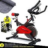 Sportstech SX100 Bicicleta Indoor; Volante de inercia 13kg; reposabrazos Acolchados, Asiento cómodo, pulsometro, Sistema de...