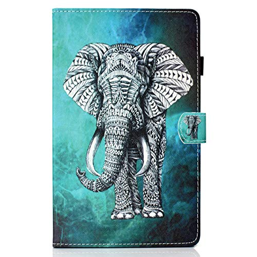 Coopay Compatible con Samsung Galaxy Tab A 10.1 T580 Estuche protector,Estuches delgado patrón colores, Función soporte elegante 360 grados Cubierta, Elefante Gris