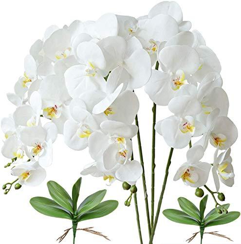 4 flores artificiales de cerezo, ramas, flores de melocotón, flores de seda falsas, ramos, ramo de sakura, plantas falsas de melocotón, plantas falsas para bodas, decoración de interiores (azul)