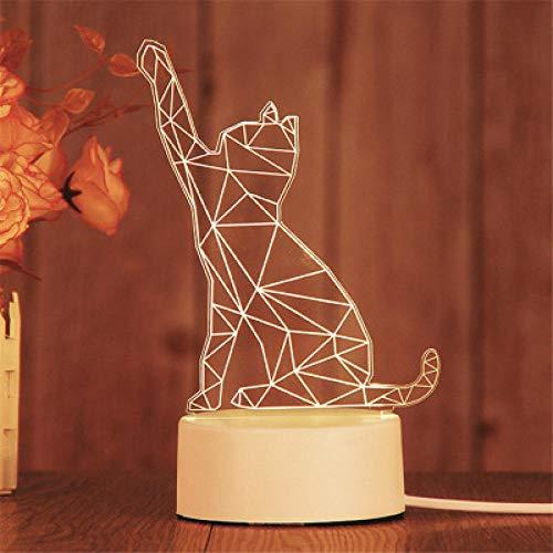 Stecker Modelle 3D Nachtlicht Geburtstagsgeschenk Quallenlampe führte dekorative Tischlampe Flutlicht Schlafzimmer Nachttischlampe Paar Geschenk-Glückliche Katze