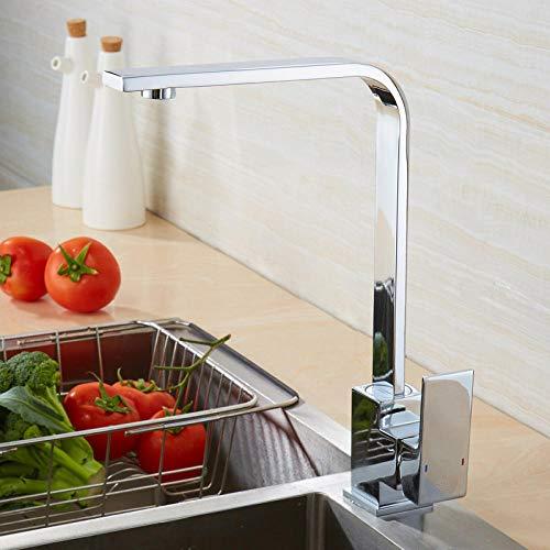 MUURDOM vierkante kraan van geborsteld goud zwart roségoud wastafelkraan 360 graden draaibare keukenkraan ORB mengkraan chroom