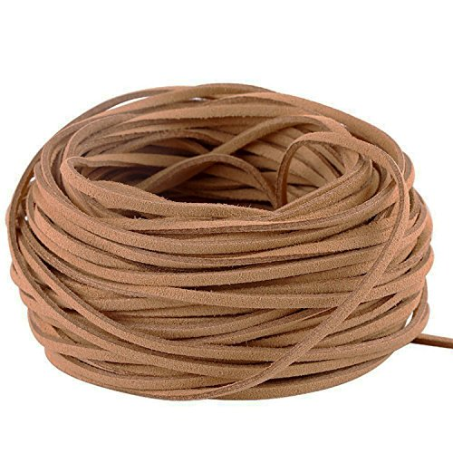 GoFriend 25 Yards Suede Cord Lace Faux Leather Cord Jewelry Making Beading Craft Thread String- 3mm Width (Brown)