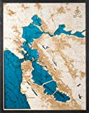 Large, Beautifully Detailed! San Francisco 3-D Wood Map. Blue