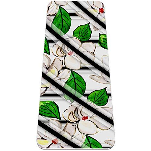 Acuarela Flor Blanca Esterilla de Yoga TPE Lindo tapete Antideslizante para el Suelo con Bolsa para Mujeres Hombres niños Adultos 183x61cmx0.6cm