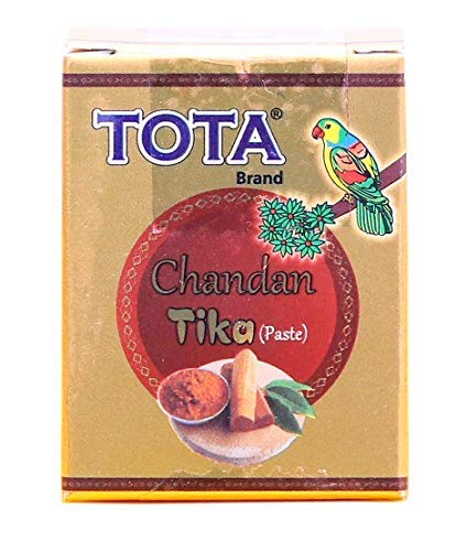 VRINDAVANBAZAAR.COM TOTA Chandan TIKA Paste for Puja   Sandalwood Tilak with Kesar   SkinFriendly Natural Ingredients   Colour: Yellow   Pack of 12 (40 gmx12)