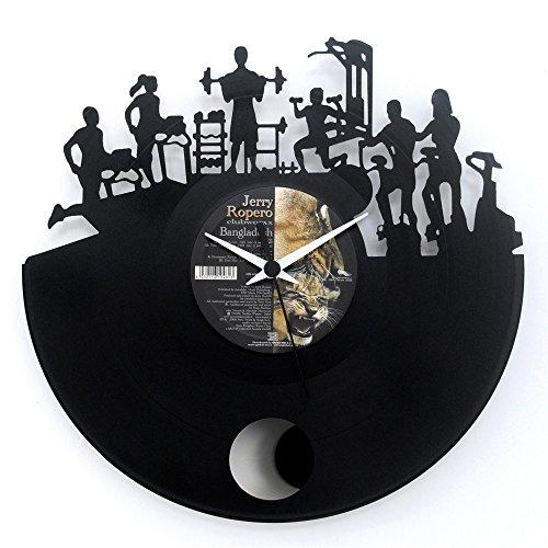 Fitnesshorloge voor fitness, housewarming, geschenkidee vinylcadeau, zwart vinylus met slinger