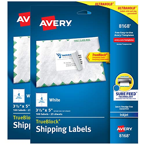 """Avery Printable TrueBlock Shipping Labels, 3.5"""" x 5"""", Sure Feed, White, 2 Pack, 200 Labels Total (5640)"""