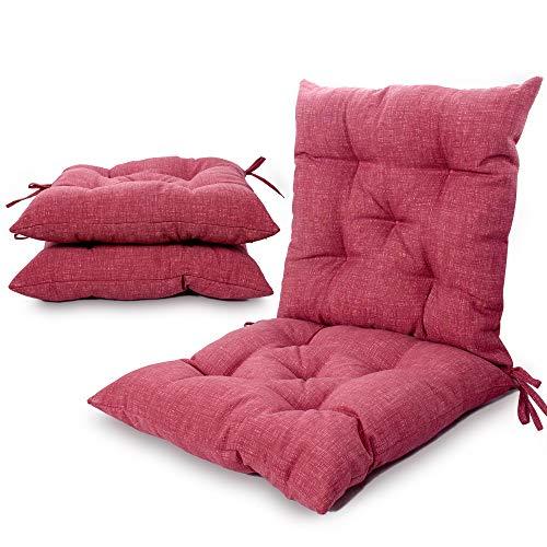 Viste tu hogar Pack 4 Cojines para Silla, 45X45 CM, Relleno de Algodón, Color Liso, Ideal para la Decoración de Cocina y Sala, Color Rojo, Fabricado en España