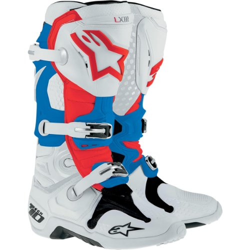 Botas Alpinestars Tech 10, color blanco, rojo y azul, talla US 8 (EU 42)