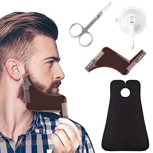 EMAGEREN Grembiule per Barba Mantello Barba Set con 2 Ventose e 1Forbici per Capelli al Naso e 1 Pettine per Barba, Panno da Barba Set Ideale Come Regalo per Uomo