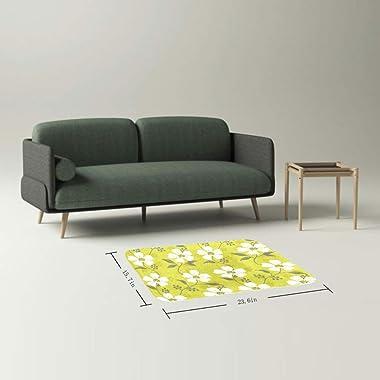 EGGDIOQ Doormats White Wild Flowers Custom Print Bathroom Mat Waterproof Fabric Kitchen Entrance Rug, 23.6 x 15.7in