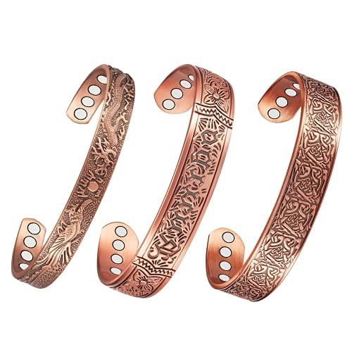 3 pulseras magnéticas de cobre auténticas para artritis de 17,8 cm y 16,5 cm, 99,9% de cobre puro, para hombres y mujeres, alivio del dolor efectivo y natural