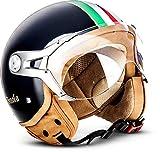 "SOXON® SP-325 ""Imola Black"" · Jet-Helm · Motorrad-Helm Roller-Helm Scooter-Helm Moped Mofa-Helm Chopper Retro Vespa Vintage Pilot Biker Helmet · ECE 22.05 Visier Schnellverschluss Tasche XL (61-62cm)"