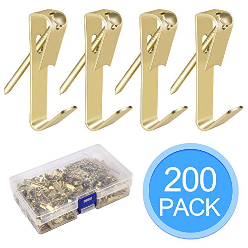 EAONE 200 Pcs 30lbs Picture Hangers with Nails, Photo Picture Frame Hooks Hardware Picture Hanging Kit on Wooden/Drywall
