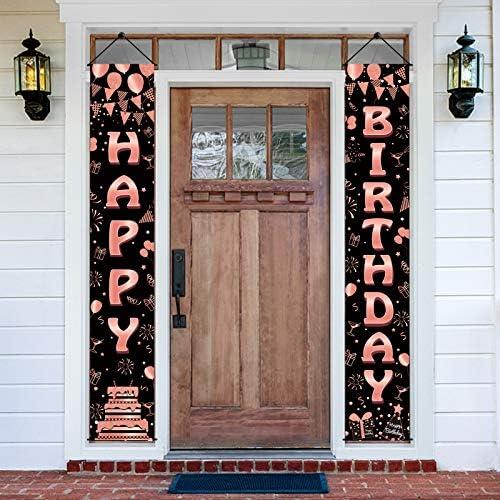 Luxiocio Happy Birthday Banner Decorations 2Pcs Happy Birthday Porch Sign Rose Gold Birthday product image