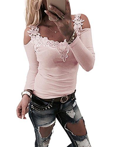 Boutiquefeel Damen Lace Patchwork Schulterfreie Slim Fit Bluse Oberteile Tops Rosa S