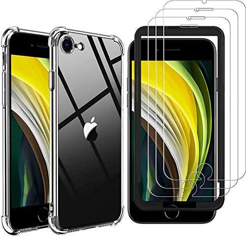 GESMA for iPhone SE 2020 Screen Protector and Case, [3 Screen Protectors+1 Case+1 Tray] [Full Coverage] Case with Tempered Glass Screen Protector for iPhone SE 2020/iPhone 7/iPhone 8 4.7-inch [Not-Compatible with iPhone 6/6s] (Clear)