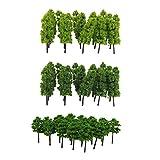 SM SunniMix 60 Piezas 1: 200 Árboles Artificiales con Hojas Verdes Miniatura de Planta...