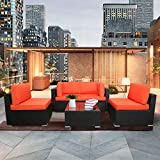 EXCITED WORK 5PCs Patio PE Rattan Sectional Sofa, Outdoor Wicker Furniture Sets with Washable Couch Cushions & Coffee Table (Orange)