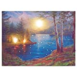 Nexos LED Wandbild Leinwandbild mit Beleuchtung Fotodruck Lagerfeuer 30x40 cm Kunstdruck Leuchtbild Effekt-LED Herbstdeko Vollmond Bergsee Canada