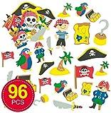 Baker Ross Moosgummi Aufkleber Piraten für Kinder zum Verzieren von Karten und Bastelprojekten (96 Stück)