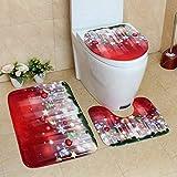 Trihedral-X 3PCS Navidad Almohadillas de Las Patas de Asiento de Inodoro Cubre Alfombras Set de baño Decoración de Navidad Suministros Alfombras Lavables