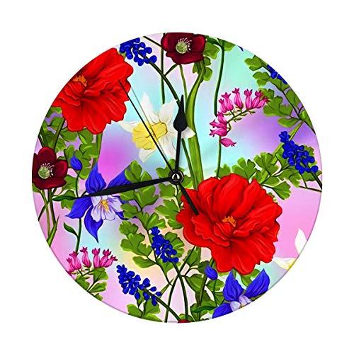 Reloj de pared sin tictac, 9.8 pulgadas, flores de primavera en luz ultra violeta pastel en malla grandes relojes redondos