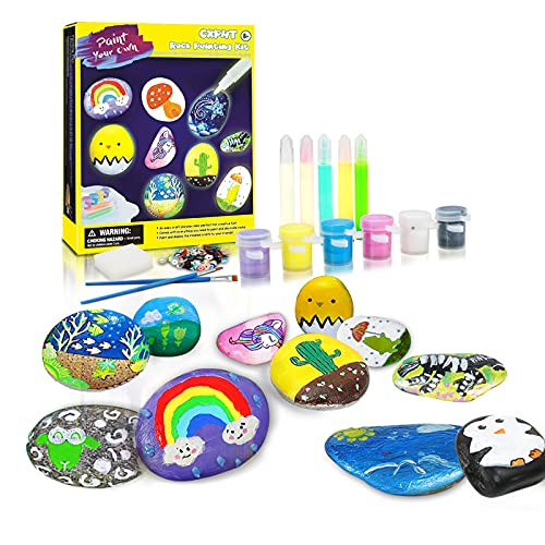 CXPHT Glow in The Dark Paint Hide in The Glass Painting 10 Rocks with Water Resistant Crafts for Kids Paint Rock Painting Kit