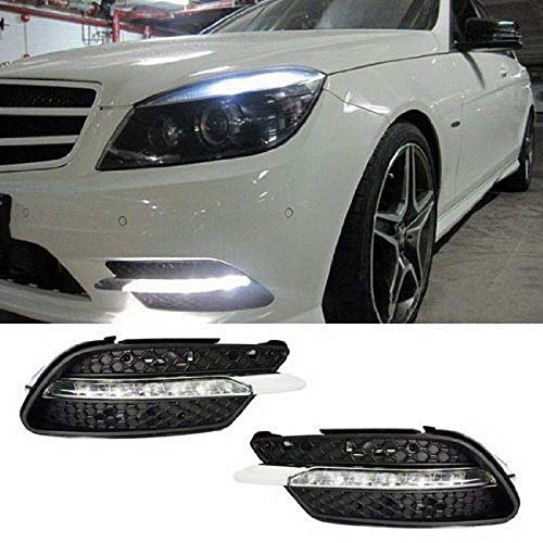 iJDMTOY Xenon White LED Daytime Running Lights Compatible With 08-10 Mercedes Benz W204 C-Class C300 C350 w/Sports Package Bumper, OEM Style DRL Assy Each Powered by 7 Pieces High Power LED Lights