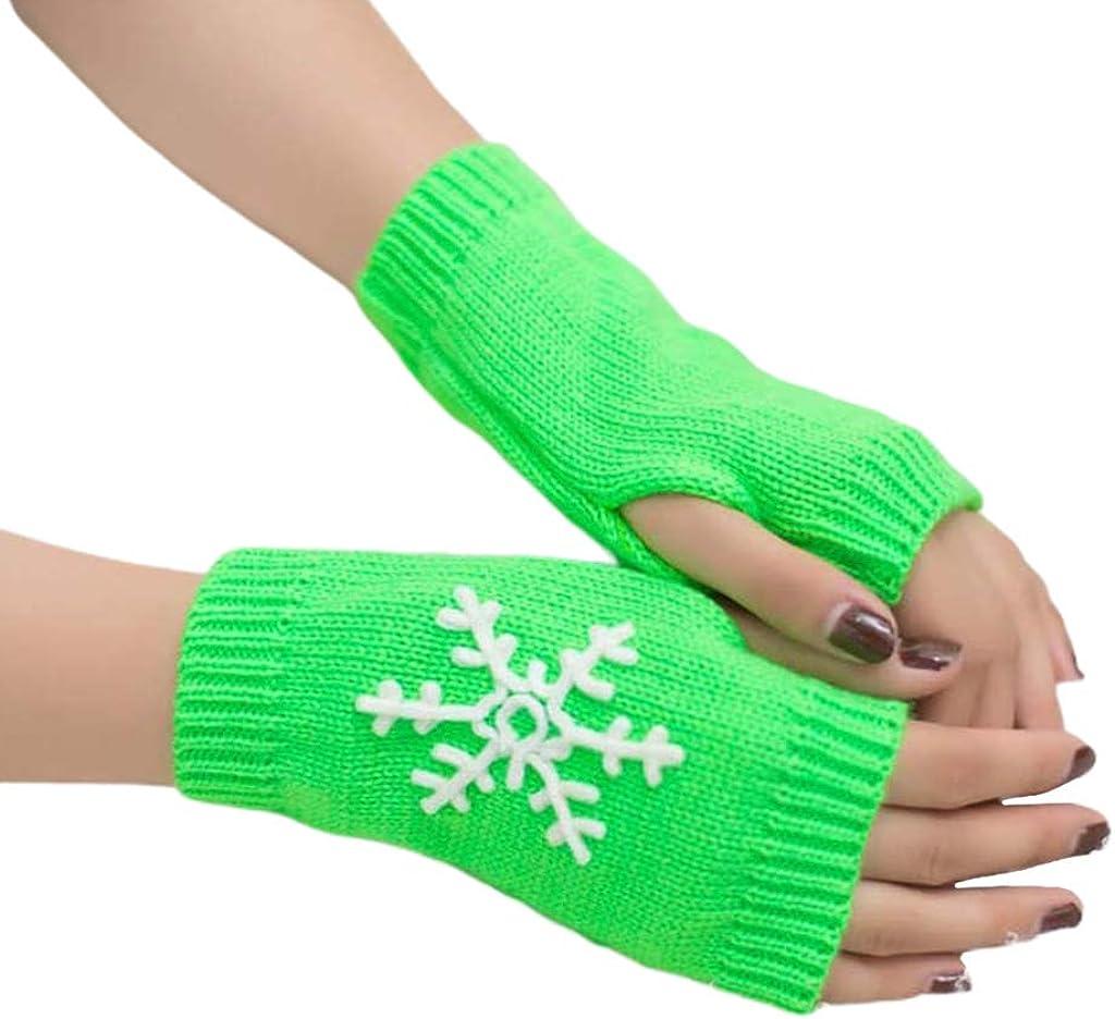 Dsxnklnd Christmas New Knit Gloves Women Girls Half Finger Snowflake Pattern Glove