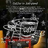 XCSJX Etiqueta de la Tienda de café calcomanía de té de Leche de Soja Taza de café Cartel de Vinilo Arte decoración de la Pared decoración Mural Resto Pan café calcomanía de Vidrio 114x117 cm