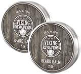 Viking Revolution Beard Balm - All Natural Grooming Treatment with Argan Oil & Mango Butter - Strengthens & Softens Beards & Mustaches - Leave in Conditioner Wax for Men (Citrus Scent, Pack of 2)