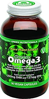 Green Nutritionals Pure Plant-Source Green Omega 3 90 Vegan Capsules, 90 count, Pack of 90
