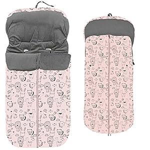 Saco Silla Paseo Universal Polar color rosa (Animalitos rosa)
